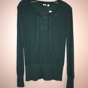 Gap Green Lace Up Sweater Top